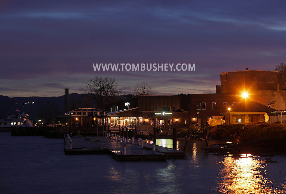 Newburgh, New York  - A view of Hudson River docks and Billy Joe's Ribworks on the Newburgh waterfront at twilight on Nov. 19, 2011.