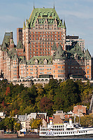 Chateau Frontenac in Old Quebec City in autumn as seen from across the Saint Laurence River in Levis Quebec. © Allen McEachern.