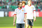 Daley Blind Midfielder of Manchester United in warm up during the Europa League match between Saint-Etienne and Manchester United at Stade Geoffroy Guichard, Saint-Etienne, France on 22 February 2017. Photo by Phil Duncan.