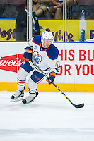 PENTICTON, CANADA - SEPTEMBER 17: Joey Benik #47 of Edmonton Oilers skates against the Calgary Flames on September 17, 2016 at the South Okanagan Event Centre in Penticton, British Columbia, Canada.  (Photo by Marissa Baecker/Shoot the Breeze)  *** Local Caption *** Joey Benik;