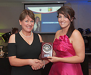 Best Committee Member -GMIT receiving her award from Breda Crehan Roche, CEO Abilty West was Olivia Barden Leitrim at the Ability West Best Buddies ball at the Menlo Park Hotel, Galway. Photo:Andrew Downes Photography.