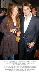BEN GOLDSMITH son of the late Sir James Goldsmith and KATE ROTHSCHILD at a party in London on 3rd October 2002.	PDT 33