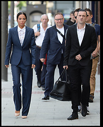 Image ©Licensed to i-Images Picture Agency. 25/07/2014. London, United Kingdom. Tulisa Contostavlos arrives at Stratford Magistrates' Court to conclude her assault trial. Her assistant, Gareth Varey, (right) was cleared of using threatening behaviour during the incident last August. Picture by Andrew Parsons / i-Images