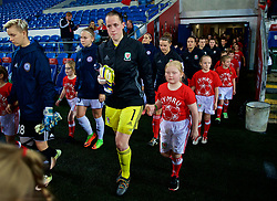 CARDIFF, WALES - Friday, November 24, 2017: Wales' goalkeeper Laura O'Sullivan walks out before the FIFA Women's World Cup 2019 Qualifying Round Group 1 match between Wales and Kazakhstan at the Cardiff City Stadium. (Pic by David Rawcliffe/Propaganda)