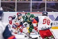 2019-10-15 | Umeå, Sweden: Västervik (40) Erik Aterius battles for the puck with Björklöven (12) Brian Cooper in   HockeyAllsvenskan during the game  between Björklöven and Västervik at A3 Arena ( Photo by: Michael Lundström | Swe Press Photo )<br /> <br /> Keywords: Umeå, Hockey, HockeyAllsvenskan, A3 Arena, Björklöven, Västervik, mlbv191015