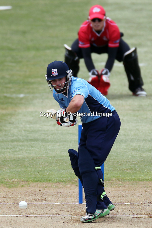 Brad Cachopa during the Ford Trophy match between the Auckland Aces and Canterbury Wizards. Men's domestic one day cricket. Colin Maiden Park, Auckland, New Zealand. Wednesday 14 December 2011. Ella Brockelsby / photosport.co.nz