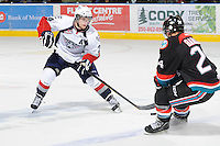 KELOWNA, CANADA, OCTOBER 5: Brendan Shinnimin #24 of the Tri City Americans skates with the puck against the Kelowna Rockets on October 5, 2011 at Prospera Place in Kelowna, British Columbia, Canada (Photo by Marissa Baecker/shootthebreeze.ca) *** Local Caption ***Brendan Shinnimin;