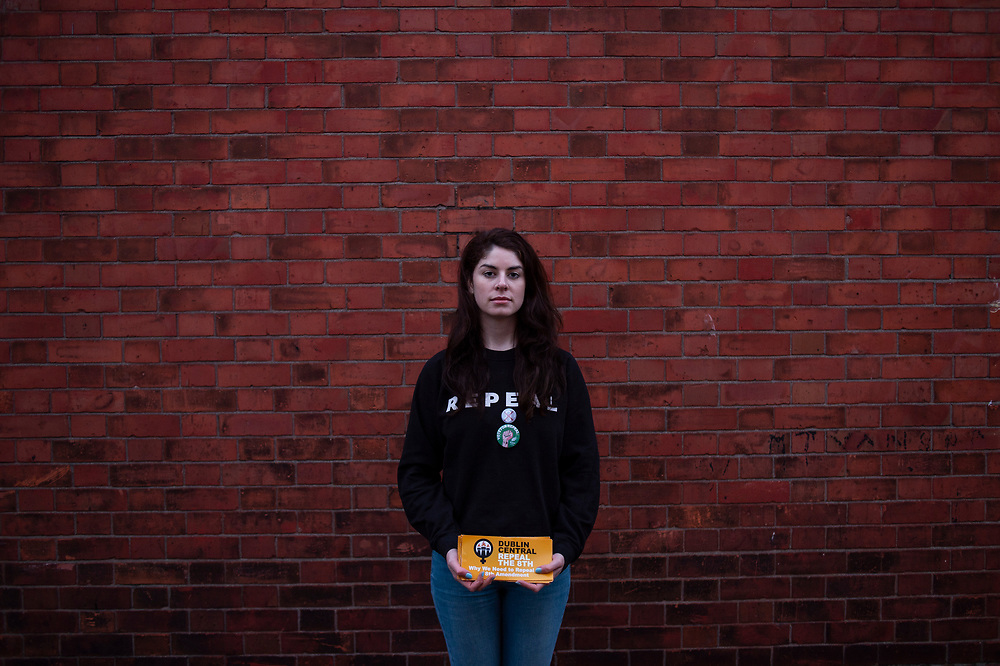 Rachel Quinn, a 25 year old graphic designer and pro-choice activist, poses for a portrait while canvassing in favour of a vote for repeal the Eighth Amendment from the Irish constitution, in Dumcondra, a working class neighbourhood in the northern side of Dublin, on April 03, 2018.