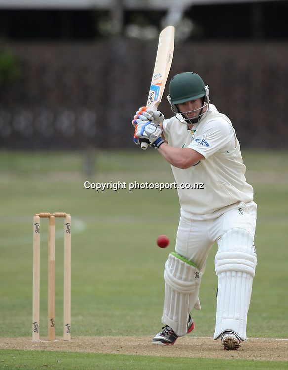 Stag's Carl Cachopa plays a shot in the Plunket Shield cricket match between the Central Districts Stags and the Auckland Aces at Nelson Park, Napier,  New Zealand. Sunday, 04 November, 2012. Photo: John Cowpland / photosport.co.nz