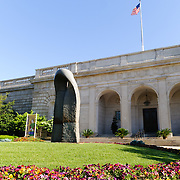 Exterior of the main entrance of the Freer Gallery of Art, part of the Smithsonian Institution in Washington DC.