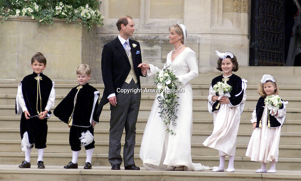 Edward and Sophie, the new Earl and Countess of Wessex on their wedding day in Windsor on June 19, 1999..
