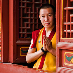 Budhist monk doing the traditional greeting in a temple. Lama Temple, Xian, Shaanxi, China.
