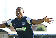 Picture by David Horn/Focus Images Ltd +44 7545 970036.08/09/2012.Britt Assombalonga of Southend United celebrates scoring the opening goal during the npower League 2 match at Roots Hall, Southend.