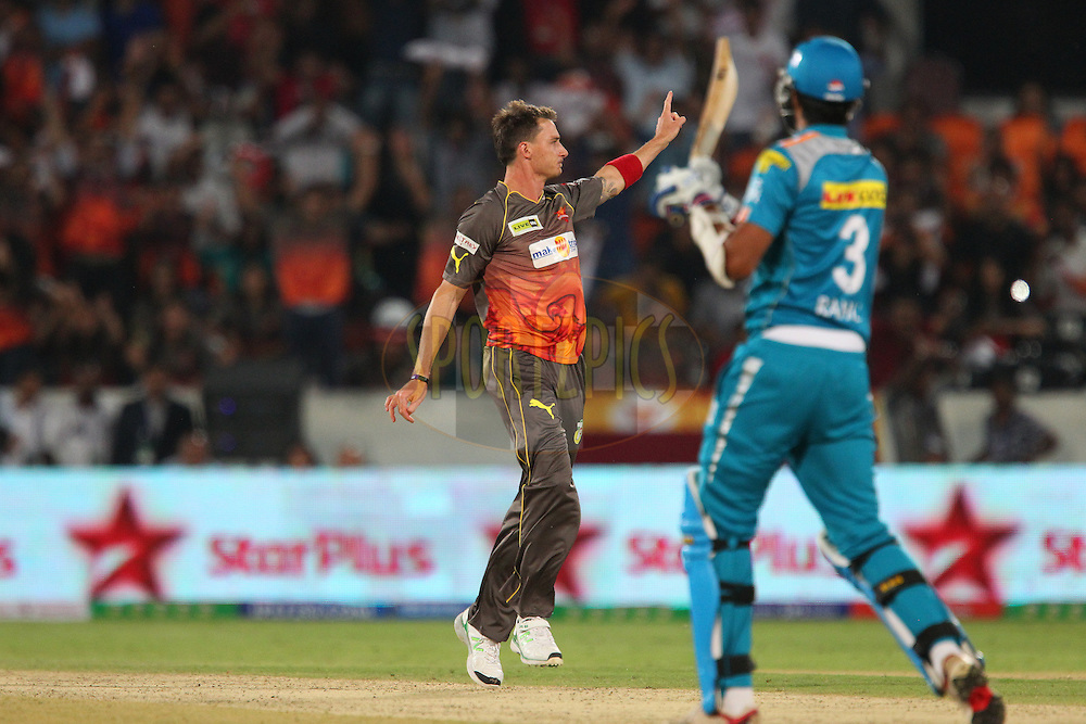 Dale Steyn celebrates the wicket of Rahul Sharma during match 3 of of the Pepsi Indian Premier League between The Sunrisers Hyderabad and The Pune Warriors held at the Rajiv Gandhi International  Stadium, Hyderabad  on the 5th April 2013..Photo by Ron Gaunt-IPL-SPORTZPICS..Use of this image is subject to the terms and conditions as outlined by the BCCI. These terms can be found by following this link:..http://www.sportzpics.co.za/image/I0000SoRagM2cIEc