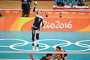 RIO DE JANEIRO, BRAZIL - AUGUST 16:<br /> <br /> Wei Qiuyue #7 of China in action during the Women\'s Quarterfinal match between China and Brazil on day 11 of the Rio 2106 Olympic Games at the Maracanazinho on August 16, 2016 in Rio de Janeiro, Brazil.<br /> ©Exclusivepix Media