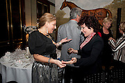 MAYOR OF KENSINGTON AND CHELSEA JULIE MILLS; RUBY WAX, Veuve Clicquot Tribute award dinner for Ruby Wax for her outstanding contribution to the greater understanding of mental illness in the UK. Berkeley Hotel, London. 25 November 2011.