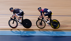 The eventual winner of the men's points race Matt Gibson, left and Ed Clancy, right during Round One of the 2017/18 Revolution Series at Lee Valley Velo Park, London.