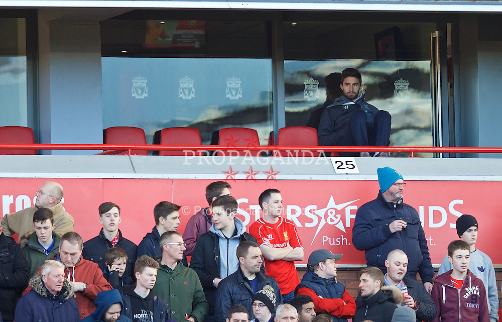 LIVERPOOL, ENGLAND - Sunday, March 8, 2015: Liverpool's Fabio Borini sits in an executive box during the FA Cup 6th Round Quarter-Final match against Blackburn Rovers at Anfield. (Pic by David Rawcliffe/Propaganda)