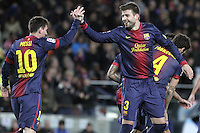 06.01.2013 Barcelona, Spain. La Liga day 18. Picture show Leo Mess and Gerad Pique in action during game between FC Barcelona against RCD Espanyol at Camp Nou