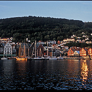 Three weeks aboard the Kong Harald. Hurtigruten, the Coastal Express. Bryggen by night in Bergen.