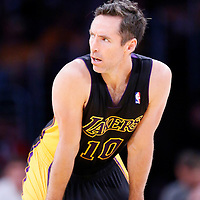 21 March 2014: Los Angeles Lakers guard Steve Nash (10) rests during the Washington Wizards 117-107 victory over the Los Angeles Lakers at the Staples Center, Los Angeles, California, USA.