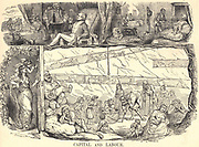 Capital and Labour': Cartoon from 'Punch', London, 1843,  in response to Richard Horne's report of child employment. In coal mines 'labourers are obliged to go on all-fours like dogs'.  The labouring poor are locked away in misery, toiling to produce the wealth that enabled 'upper classes' to live in luxury.