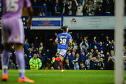 Conor Chaplin celebrates the opening goal for Portsmouth during the Capital One Cup match between Portsmouth and Reading at Fratton Park, Portsmouth, England on 25 August 2015. Photo by Adam Rivers.