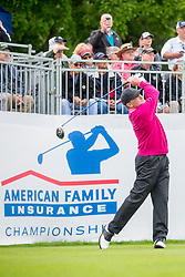 June 22, 2018 - Madison, WI, U.S. - MADISON, WI - JUNE 22: Tom Kite tees off on the first tee during the American Family Insurance Championship Champions Tour golf tournament on June 22, 2018 at University Ridge Golf Course in Madison, WI. (Photo by Lawrence Iles/Icon Sportswire) (Credit Image: © Lawrence Iles/Icon SMI via ZUMA Press)