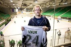 Tomaz Vnuk with retired jersey number 24 of HDD Tilia Olimpija after the press conference due to the end of the career of Slovenian ice-hockey player Tomaz Vnuk,  on October 05, 2009, in Hala Tivoli, Ljubljana, Slovenia.   (Photo by Vid Ponikvar / Sportida)
