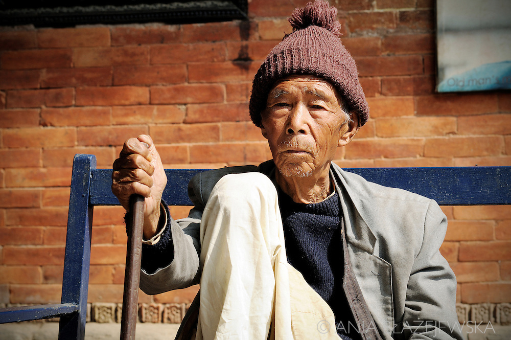 Nepal, Kathmandu. Portrait of and elderly man from Pasupatinath.
