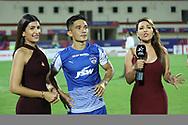 Sunil Chhetri of Bengaluru FC with leeza mangaldas ,Khuri Irani during the final of the Hero Super Cup between East Bengal FC and Bengaluru FC held at the Kalinga Stadium, Bhubaneswar, India on the 20th April 2018<br /> <br /> Photo by: Arjun Singh / SPORTZPICS