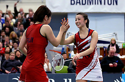 Mizuki Fuji of Bristol Jets and Emily Westwood of Bristol Jets celebrate their win in the mixed doubles sealing an overall win over Surrey Smashers - Photo mandatory by-line: Robbie Stephenson/JMP - 06/02/2017 - BADMINTON - SGS Wise Arena - Bristol, England - Bristol Jets v Surrey Smashers - AJ Bell National Badminton League