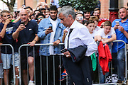 Jose Mourinho Manager of Manchester United Manager leaves the team hotel during the FA Community Shield match between Leicester City and Manchester United at Wembley Stadium, London, England on 7 August 2016. Photo by Shane Healey.