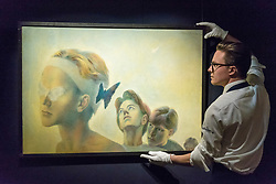 """© Licensed to London News Pictures. 01/06/2018. LONDON, UK. A Sotheby's technician presents """"Excelsior"""", by Pavel Tchelitchew (Est. GBP250-350k) at a preview of the Russian Pictures and Russian Works of Art, Fabergé & Icons sale which will take place at Sotheby's, New Bond Street on 5 June.  Photo credit: Stephen Chung/LNP"""
