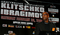 December 4, 2007; New York, NY, USA;  1976/1984 Olympic gold medalist Edwin Moses, President of Laureus Sports for Good Foundation, speaks at the press conference announcing the February 23, 2008 unification fight between IBF/IBO Heavyweight Champion Wladimir Klitschko and WBO Heavyweight Champion Sultan Ibragimov.  The two fighters will meet at Madison Square Garden.