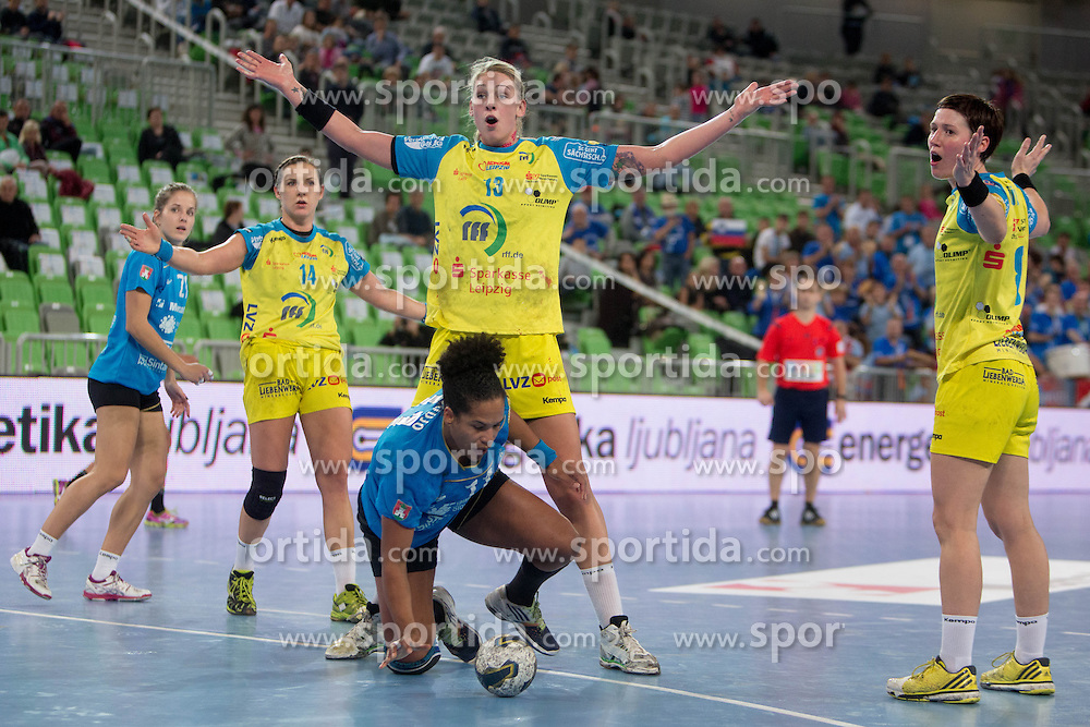 Amelie Goudjo of RK Krim Mercator during handball match between RK Krim Mercator (SLO) and HC Leipzig (GER) in 6th Round of Women's EHF Champions League 2014/15, on November 21, 2014 in Arena Stozice, Ljubljana, Slovenia. Photo by Urban Urbanc / Sportida