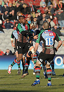 Twickenham, GREAT BRITAIN,  Ugo MONYE, collects the high ball, during the Guinness Premiership match, Harlequins vs Worcester Warriors, played at the Twickenham Stoop on Sat. 16th Feb 2008.  [Mandatory Credit, Peter Spurrier/Intersport-images]