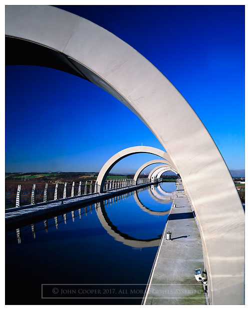 Colour photograph of The Falkirk Wheel. Mounted print available to purchase.
