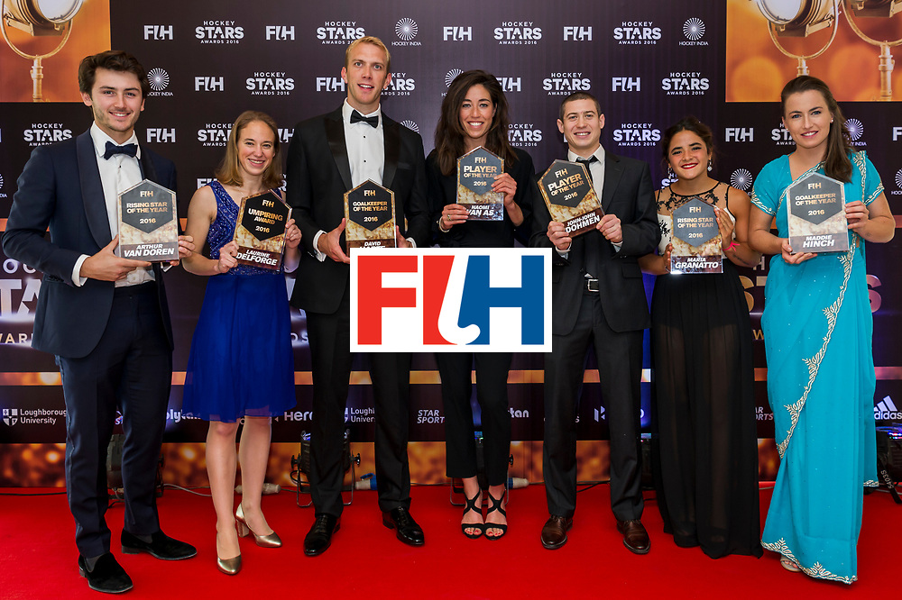 CHANDIGARH, INDIA - FEBRUARY 23: Winners of the Hockey Starts Awards 2016, [Left to Right] FIH Male Rising Star of the Year Arthur Van Doren of Belgium, FIH Female Umpiring Award Laurine Delforge of Belgium, FIH Male Goal Keeper of the Year David Harte of Ireland, FIH Female Player of the Year Naomi Van As of Netherlands, FIH Male Player of the Year John-John Dohmen of Belgium, FIH Female Rising Star of the Year Maria Granatto of Argentina and FIH Female Goal Keeper of the Year Maddie Hinch of England and Great Britain pose on the red carpet during the FIH Hockey Stars Awards 2016 at Lalit Hotel on February 23, 2017 in Chandigarh, India. (Photo by Ali Bharmal/Getty Images for FIH)