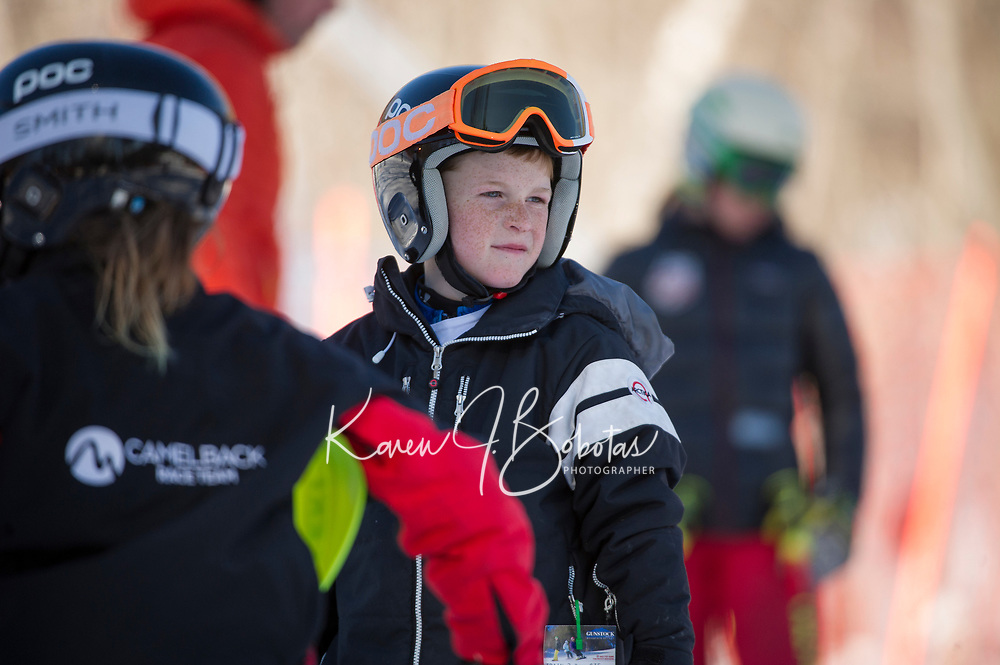 Francis Piche Invitational Giant Slalom U12 boys first run with Gunstock Ski Club.  <br /> ©2017 Karen Bobotas Photographer