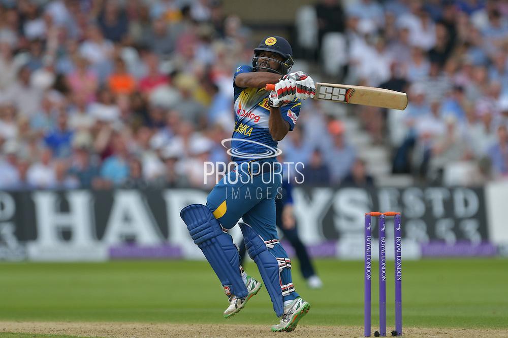 Seekkuge Prasanna of Sri Lanka hooks a Liam Plunkett of England (not shown) full toss for four during the Royal London ODI match between England and Sri Lanka at Trent Bridge, West Bridgford, United Kingdom on 21 June 2016. Photo by Simon Trafford.