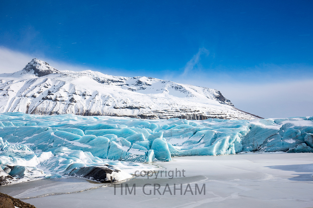 Ice blocks of glacial tongue of Svinafellsjokull glacier an outlet glacier of Vatnajokull, largest ice cap in Europe, South Iceland
