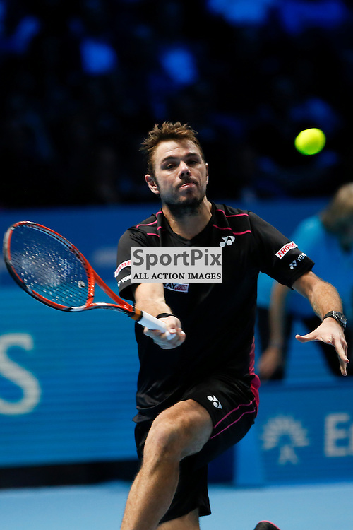 Stan Wawrinka returns the ball during a match between Stan Wawrinka and David Ferrer at the ATP World Tour Finals 2015 at the O2 Arena, London.  on November 18, 2015 in London, England. (Credit: SAM TODD | SportPix.org.uk)