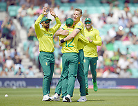 Cricket - 2019 ICC Cricket World Cup - Group Stage: South Africa vs. Bangladesh<br /> <br /> South Africa's Chris Morris celebrates taking the wicket of Bangladesh's Soumya Sarkar, caught by Quinton de Kock for 42, at The Kia Oval.<br /> <br /> COLORSPORT/ASHLEY WESTERN