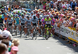21.05.2011, Hauptplatz Lienz, AUT, Giro d´ Italia 2011, 14. Etappe, Lienz - Monte Zoncolan, im Bild das Feld setzt sich in Bewegung // during the Giro d´ Italia 2011, Stage 14, Lienz - Monte Zoncolan,Austria, 2011-05-21, EXPA Pictures © 2011, PhotoCredit: EXPA/ J. Feichter