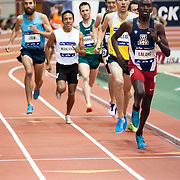 February 15, 2014 - New York, NY : <br /> Athletes including Will Leer, far left, compete in the NYRR Men's Wanamaker Mile (Elite) during the 2014 NYRR Millrose Games at the The New Balance Track & Field Center at The Armory in Washington Heights, Manhattan, on Saturday afternoon. Leer came from behind to finish first.<br /> CREDIT: Karsten Moran for The New York Times