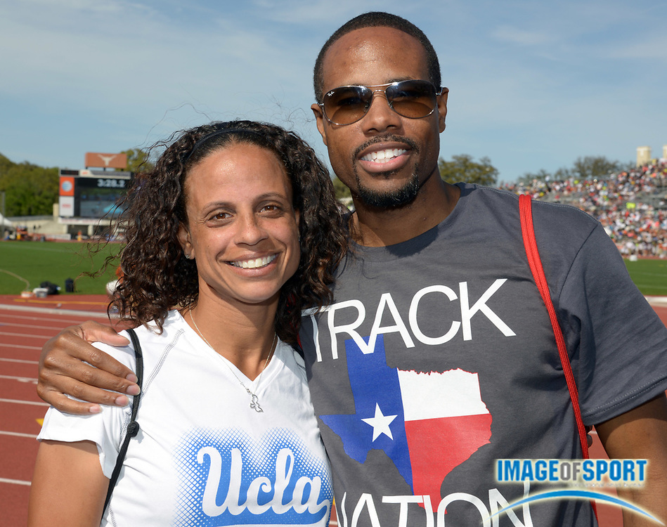 Mar 29, 2014; Austin, TX, USA; Joanna Hayes (left) and Darvis Patton pose at the 87th Clyde Littlefield Texas Relays at Mike A. Myers Stadium.