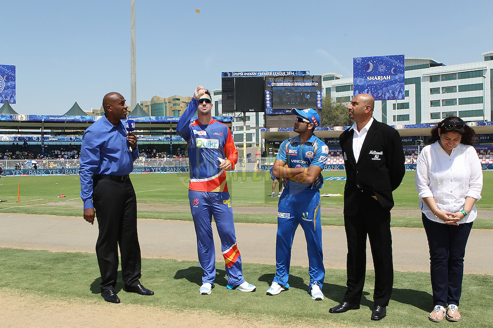 Kevin Pietersen captain of of the Delhi Daredevils and Rohit Sharma captain of of the Mumbai Indians at the toss during match 16 of the Pepsi Indian Premier League 2014 between the Delhi Daredevils and the Mumbai Indians held at the Sharjah Cricket Stadium, Sharjah, United Arab Emirates on the 27th April 2014<br /> <br /> Photo by Ron Gaunt / IPL / SPORTZPICS
