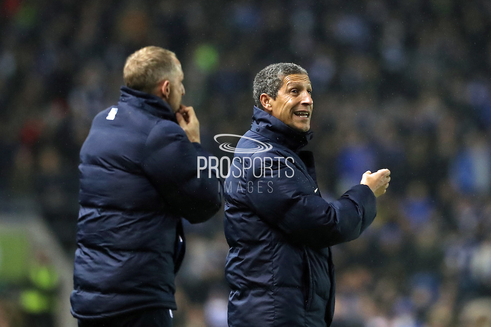 Brighton Manager, Chris Hughton during the EFL Sky Bet Championship match between Brighton and Hove Albion and Ipswich Town at the American Express Community Stadium, Brighton and Hove, England on 14 February 2017.