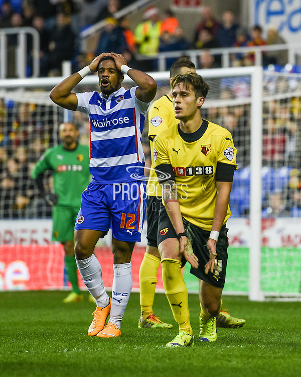 Garath McCleary is fouled by Gabriele Angella who was then sent off for the challenge during the Sky Bet Championship match between Reading and Watford at the Madejski Stadium, Reading, England on 20 December 2014. Photo by David Charbit.